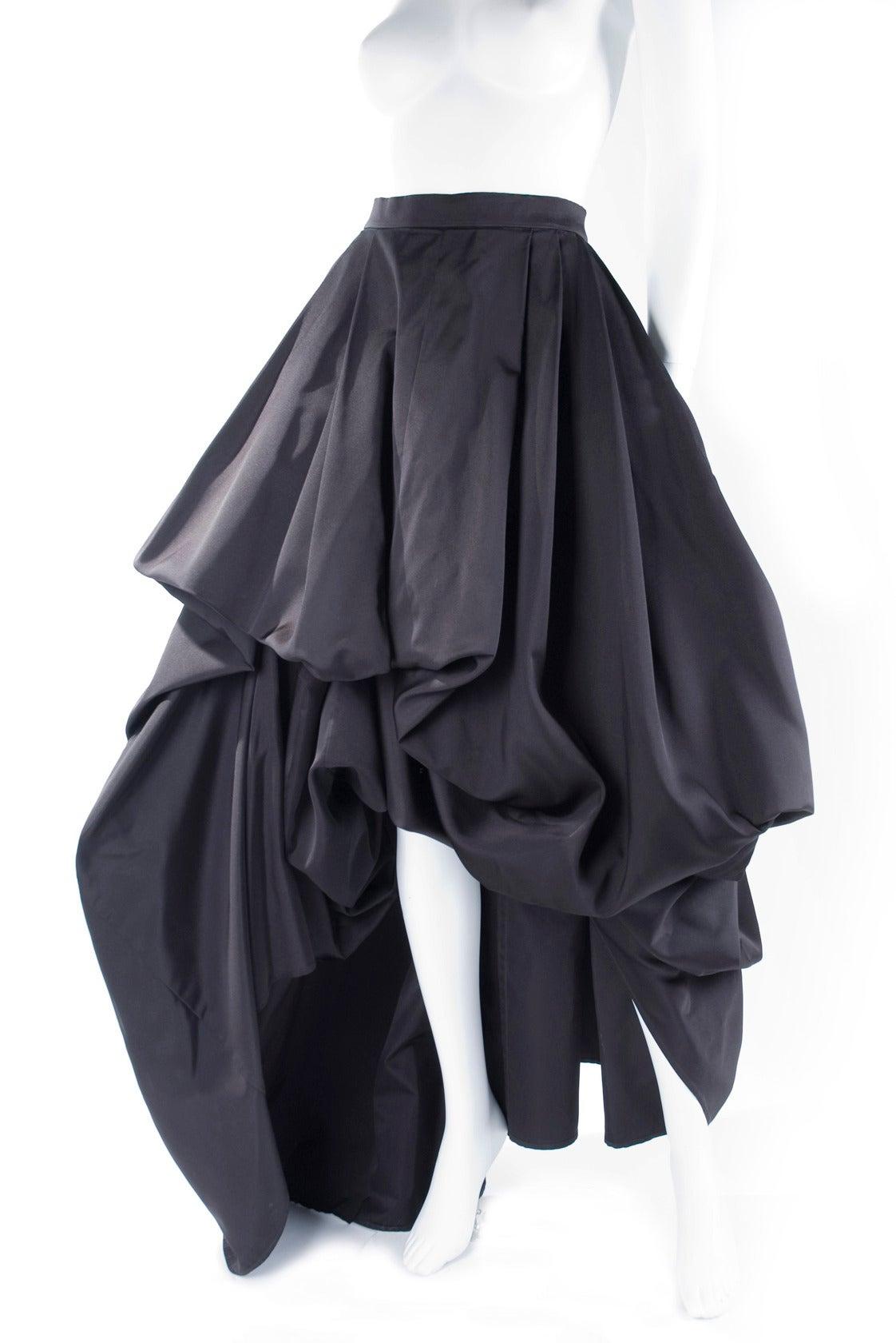 Rare Vintage HERMES Asymetrical Evening Skirt in Black Silk 5
