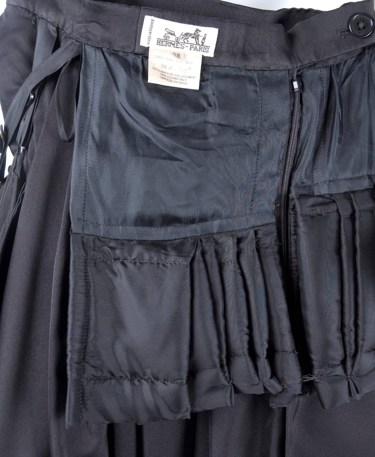 Rare Vintage HERMES Asymetrical Evening Skirt in Black Silk 8