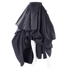 Rare Vintage HERMES Asymetrical Evening Skirt in Black Silk