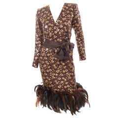 1986 Givenchy Dress with Sequins and Feathers