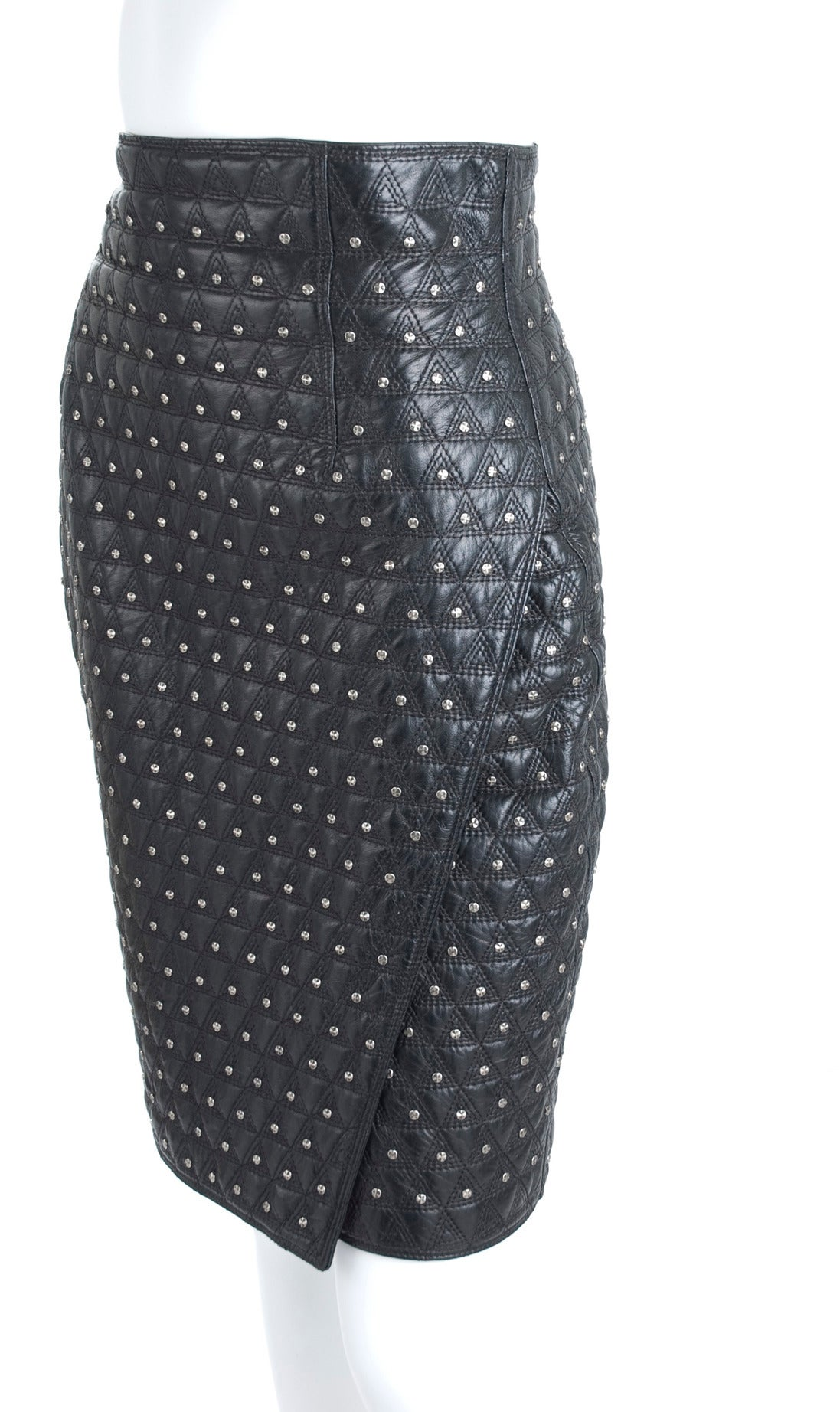 mid 80 s gianni versace leather skirt with studs at 1stdibs