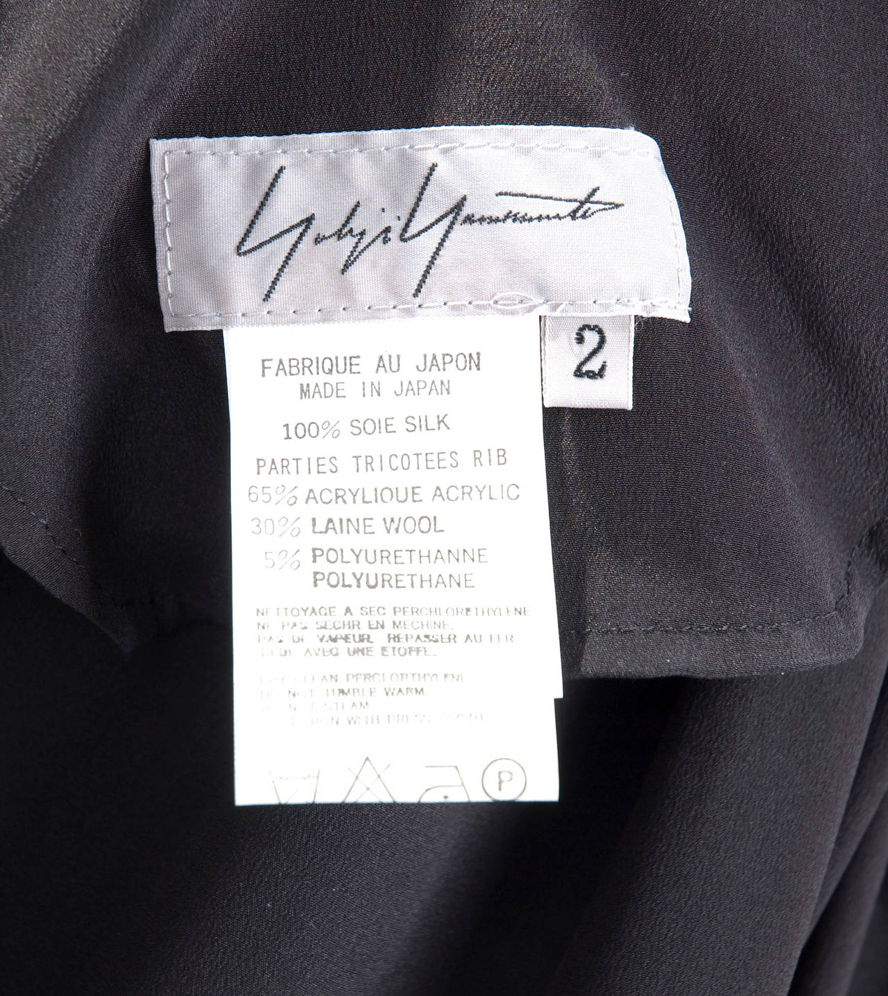 90's Yohji Yamamoto Black Silk Wrap Skirt 7