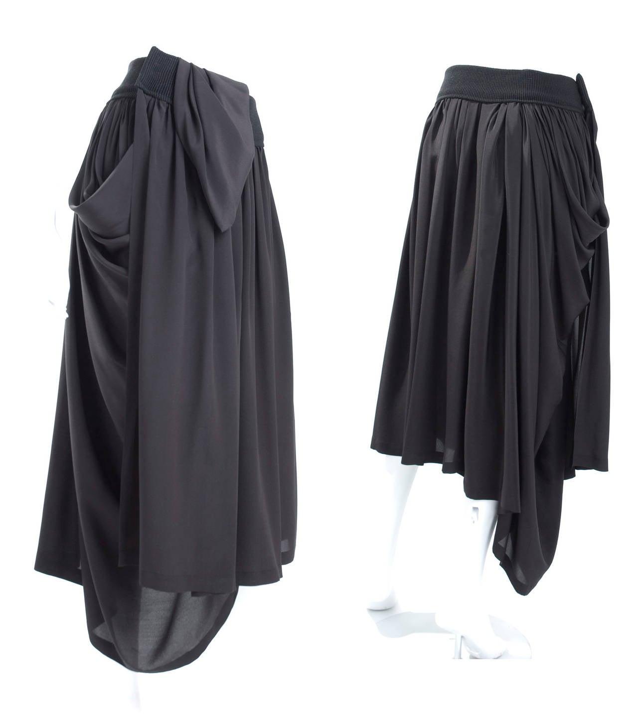 90's Yohji Yamamoto Black Silk Wrap Skirt 2