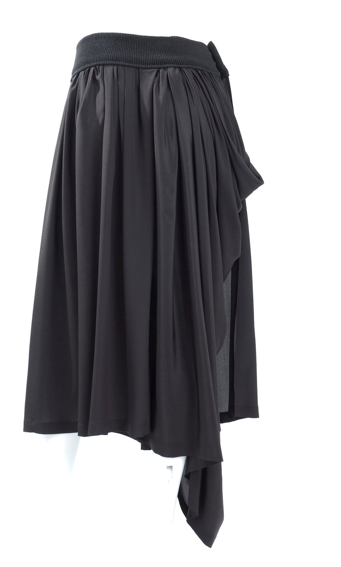 90's Yohji Yamamoto Black Silk Wrap Skirt For Sale at 1stdibs