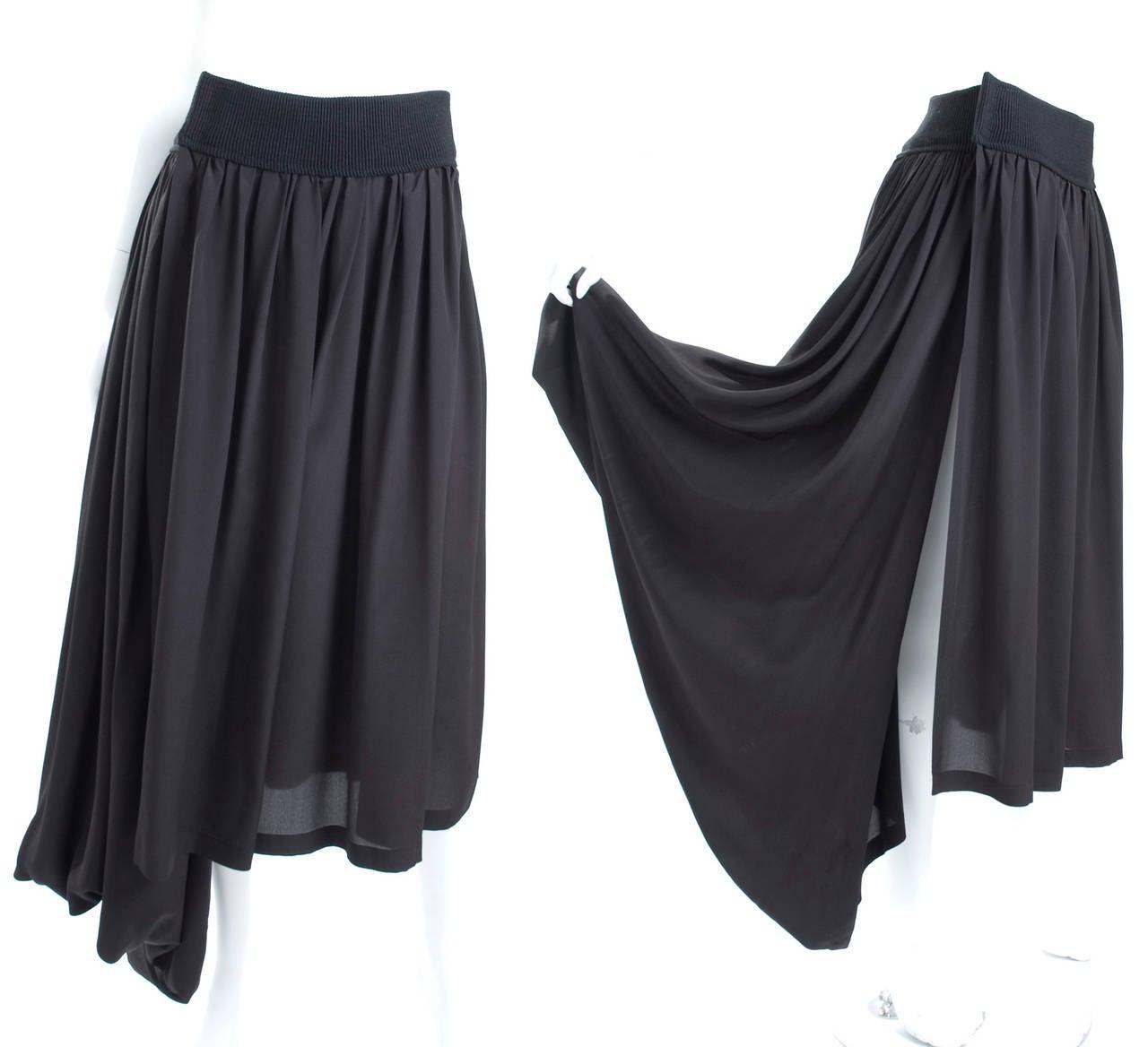 90's Yohji Yamamoto Black Silk Wrap Skirt 4