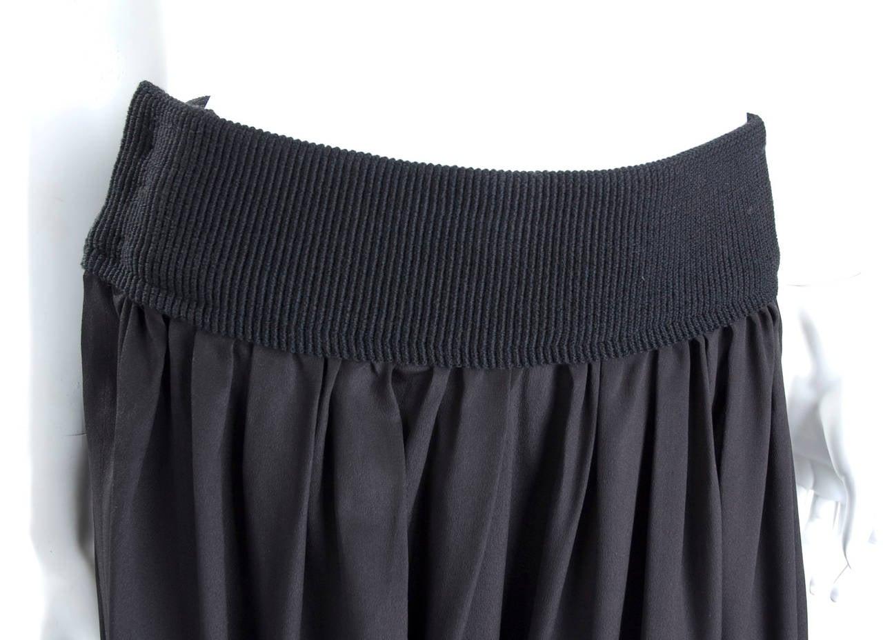 90's Yohji Yamamoto Black Silk Wrap Skirt 6