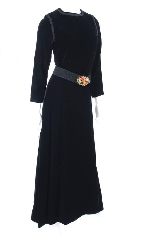 70's Yves Saint Laurent Velvet Dress with Belt 2