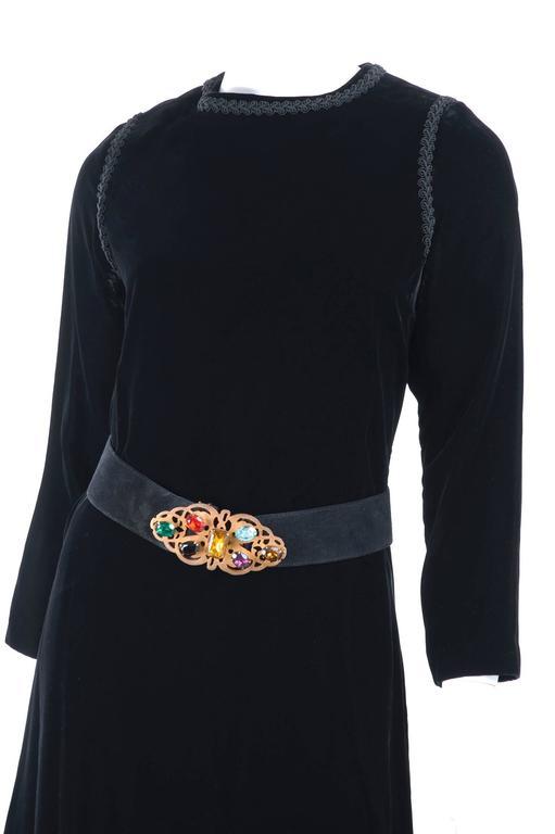 70's Yves Saint Laurent Velvet Dress with Belt 4