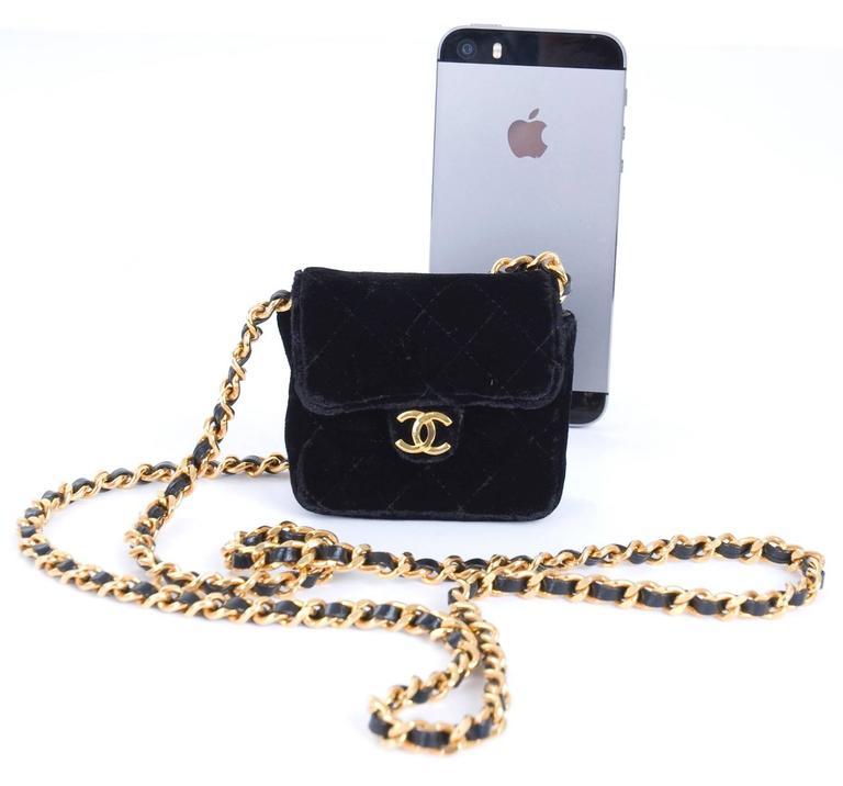 Rare Vintage Chanel Micro Mini Black Velvet Gold HW Flap Bag 5