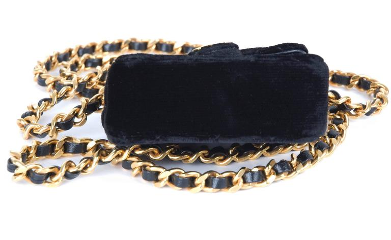 Rare Vintage Chanel Micro Mini Black Velvet Gold HW Flap Bag 6