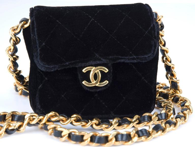 Rare Vintage Chanel Micro Mini Black Velvet Gold HW Flap Bag.