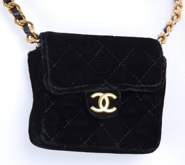 Rare Vintage Chanel Micro Mini Black Velvet Gold HW Flap Bag 4