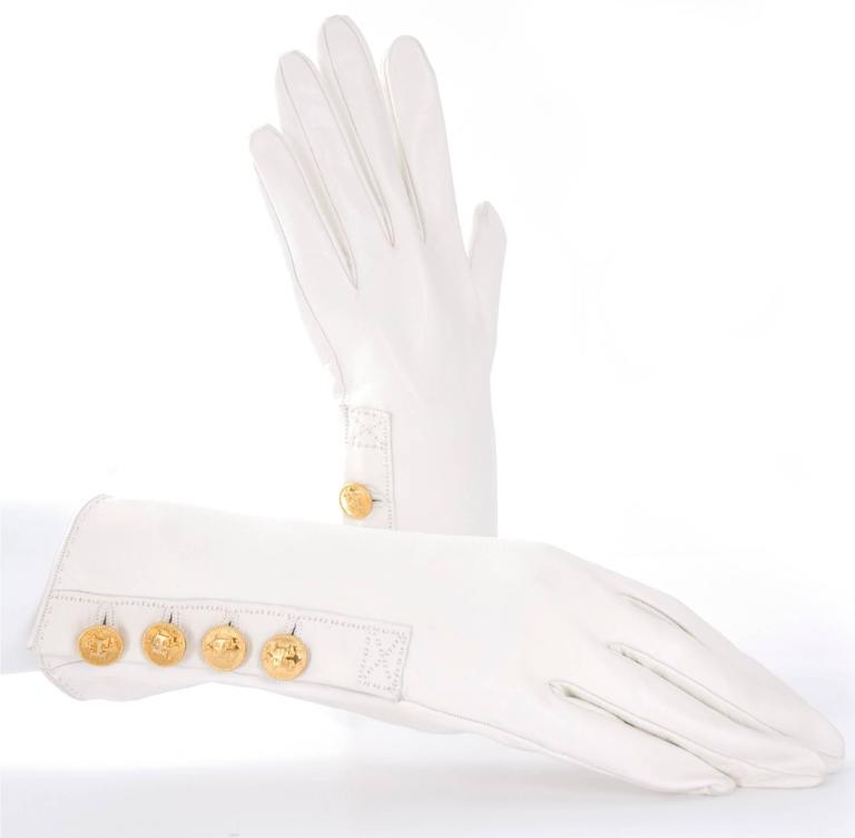 90's Hermes Leather Gloves - like new. 2