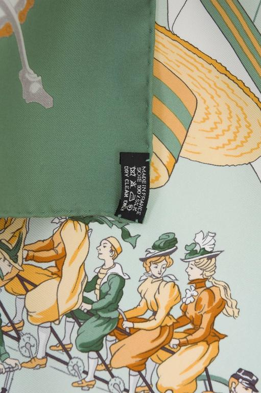 Hermes 1950s 'Les Becanes' Hermes Silk Scarf For Sale 2