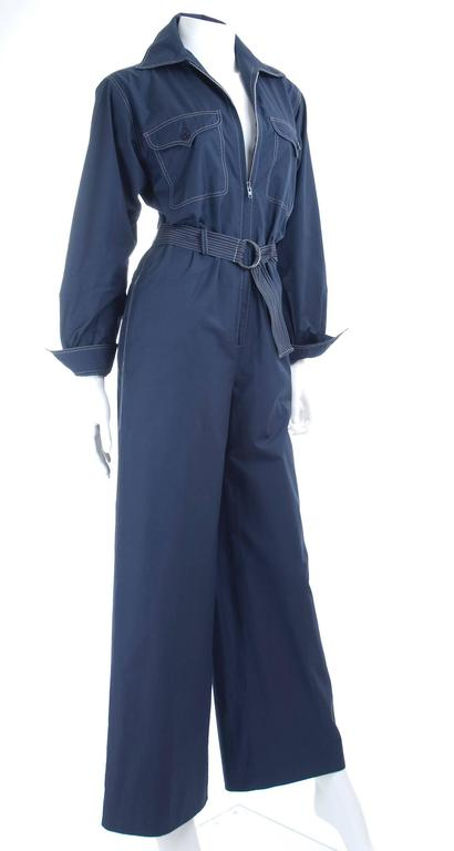 RARE Vintage 1970 Yves Saint Laurent Jumpsuit Navy with Contrast Stitching 6