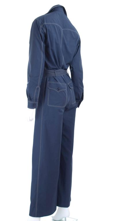 RARE Vintage 1970 Yves Saint Laurent Jumpsuit Navy with Contrast Stitching 7