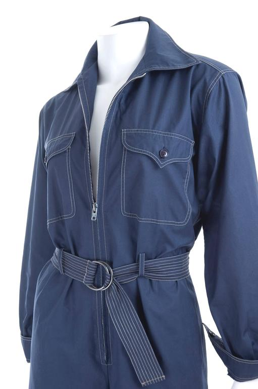 RARE Vintage 1970 Yves Saint Laurent Jumpsuit Navy with Contrast Stitching 3
