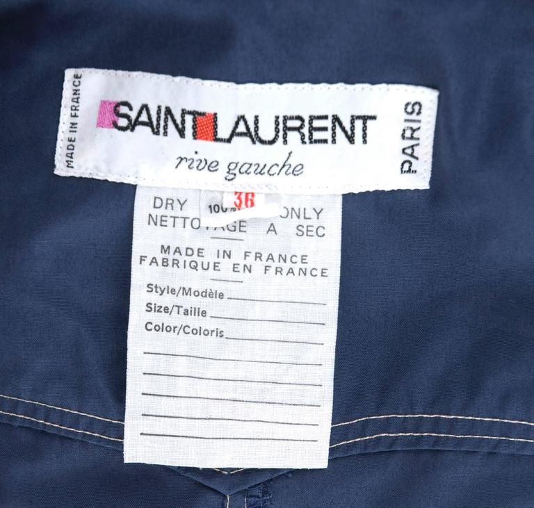 RARE Vintage 1970 Yves Saint Laurent Jumpsuit Navy with Contrast Stitching 8