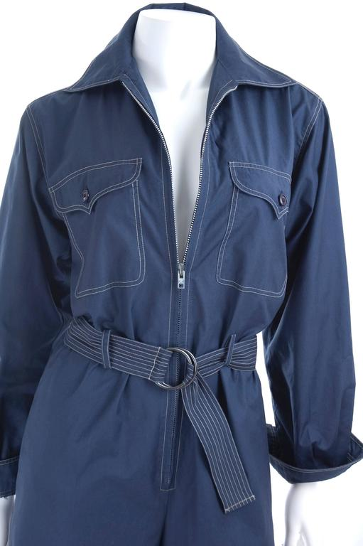 RARE Vintage 1970 Yves Saint Laurent Jumpsuit Navy with Contrast Stitching 5