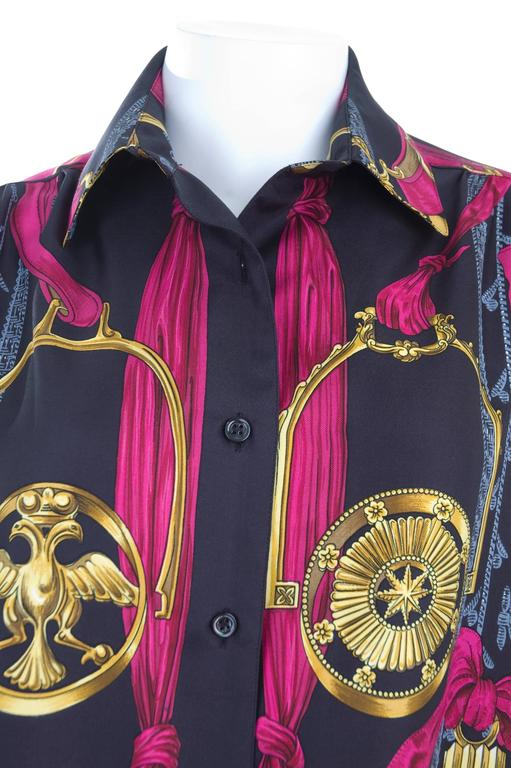 "Rare Vintage Hermes Vintage Silk Blouse "" ETRIERS ""  4"