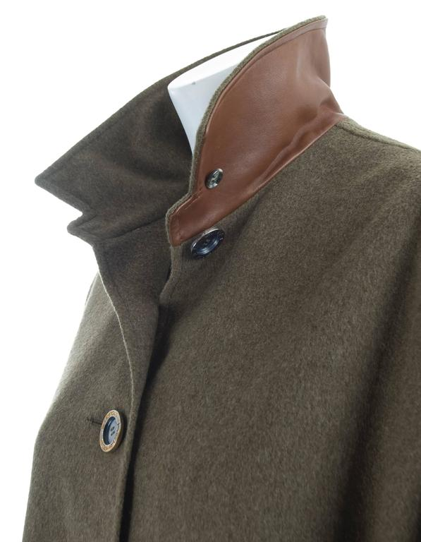 Vintage Hermes Cashmere Wool Cape With Leather Trim At 1stdibs