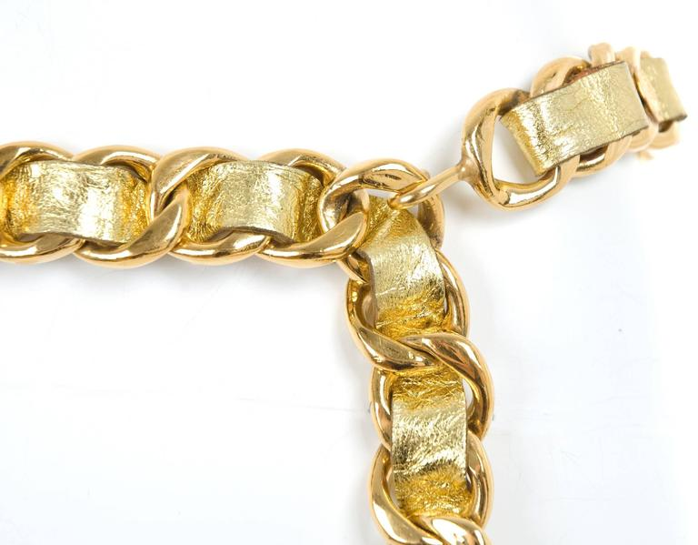 Vintage 1980's Chanel  Gold Lamb Leather and Gilded Chain Belt 6