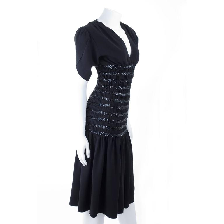 1983 Vintage Yves Saint Laurent Black Black Smocked and Sequined Cocktail Dress 5