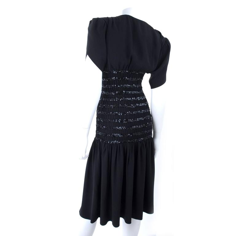 1983 Vintage Yves Saint Laurent Black Black Smocked and Sequined Cocktail Dress 7