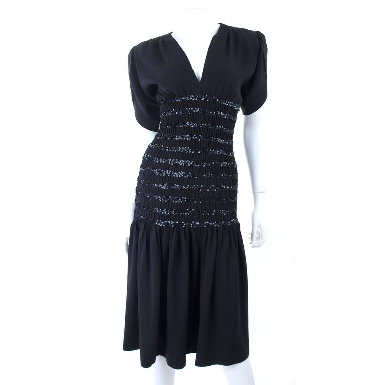 1983 Vintage Yves Saint Laurent Black Black Smocked and Sequined Cocktail Dress 2