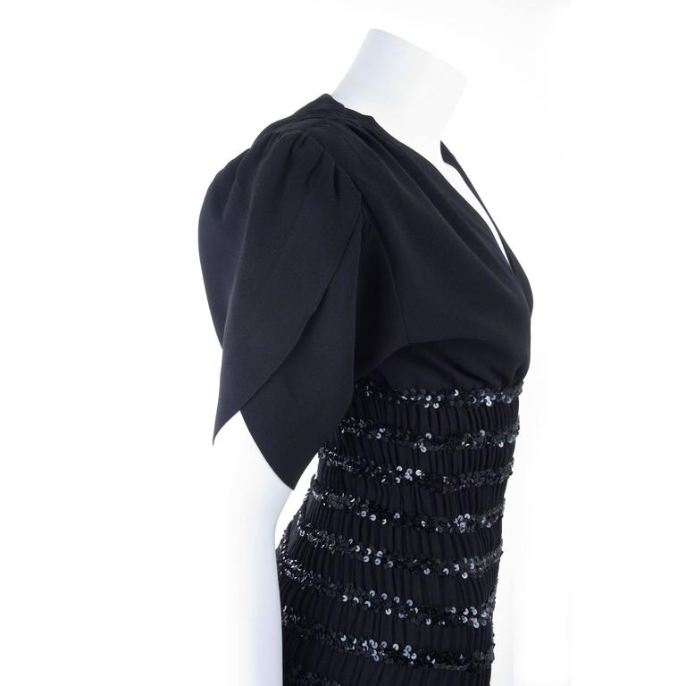 1983 Vintage Yves Saint Laurent Black Black Smocked and Sequined Cocktail Dress 8
