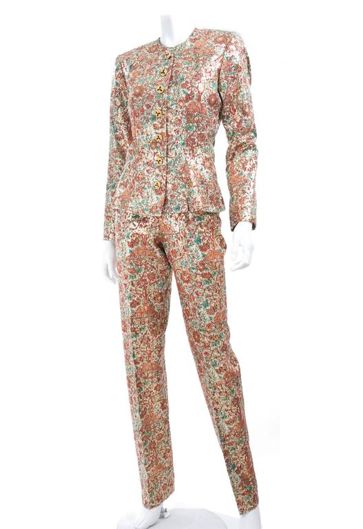 Vintage Yves Saint Laurent Brocade Suit in Gold, Red and Green 2