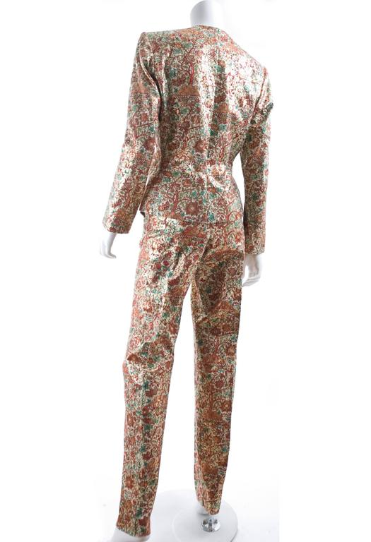 Vintage Yves Saint Laurent Brocade Suit in Gold, Red and Green 4