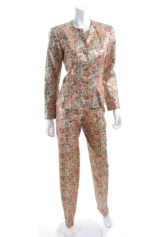Vintage Yves Saint Laurent Brocade Suit in Gold, Red and Green 5