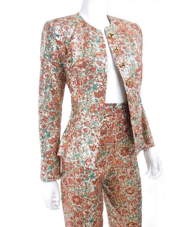 Vintage Yves Saint Laurent Brocade Suit in Gold, Red and Green 3