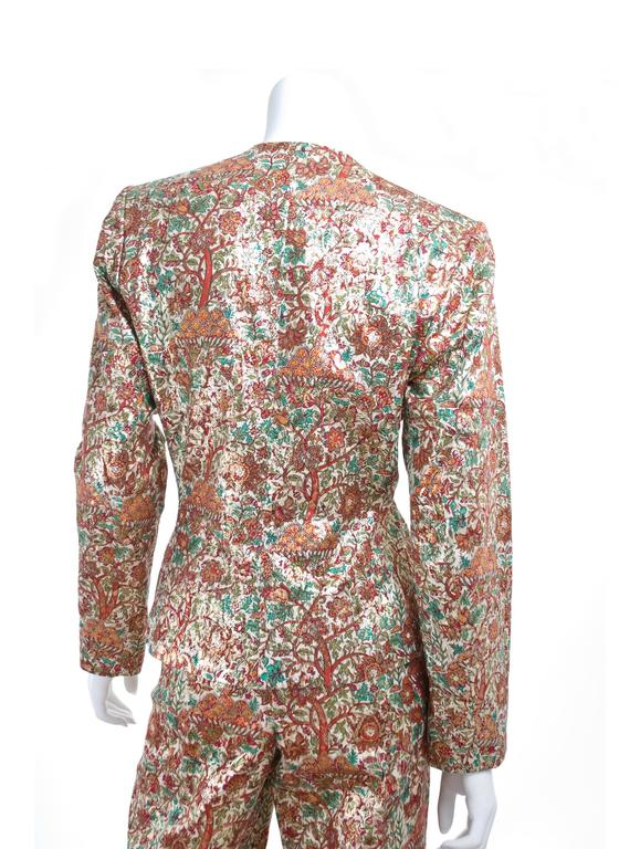 Vintage Yves Saint Laurent Brocade Suit in Gold, Red and Green 7