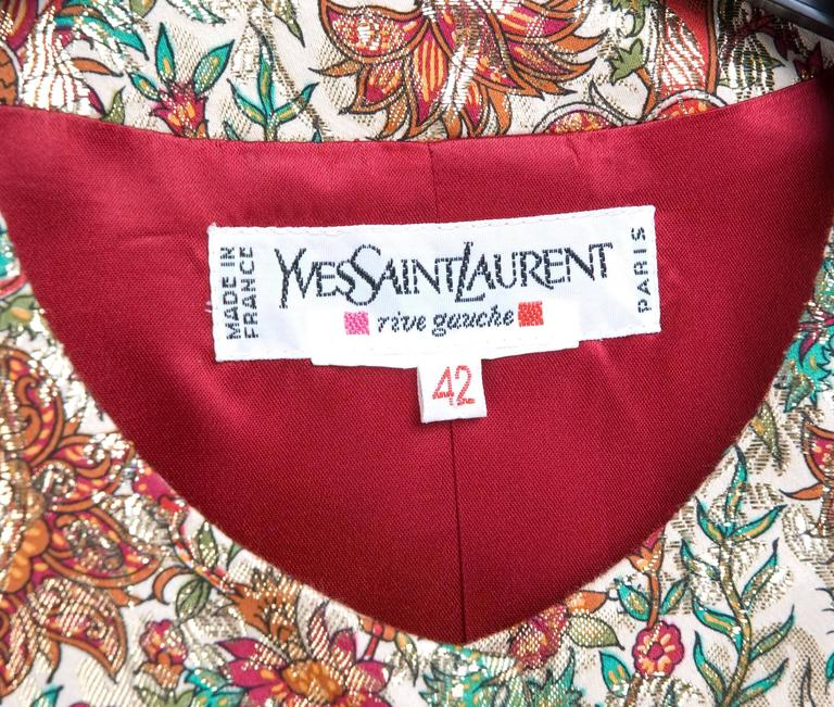 Vintage Yves Saint Laurent Brocade Suit in Gold, Red and Green 10