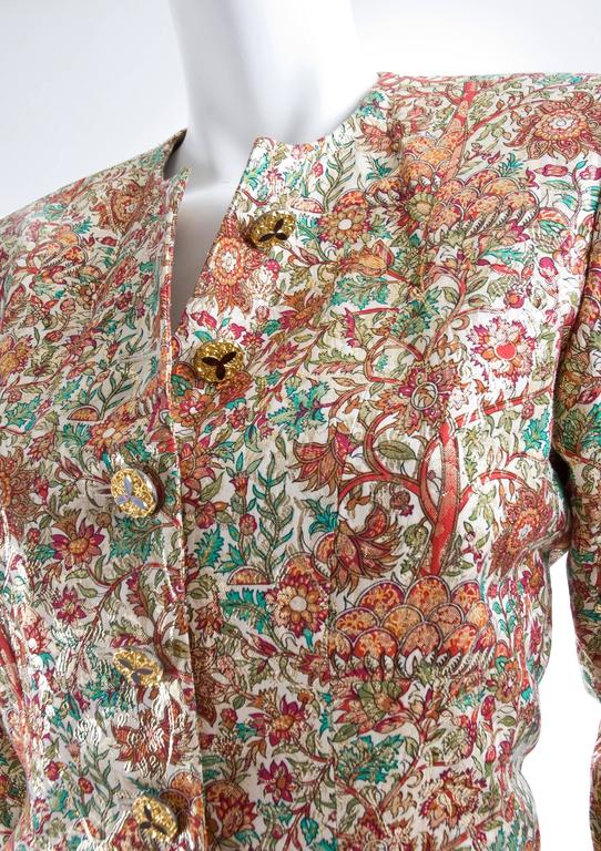 Vintage Yves Saint Laurent Brocade Suit in Gold, Red and Green 6