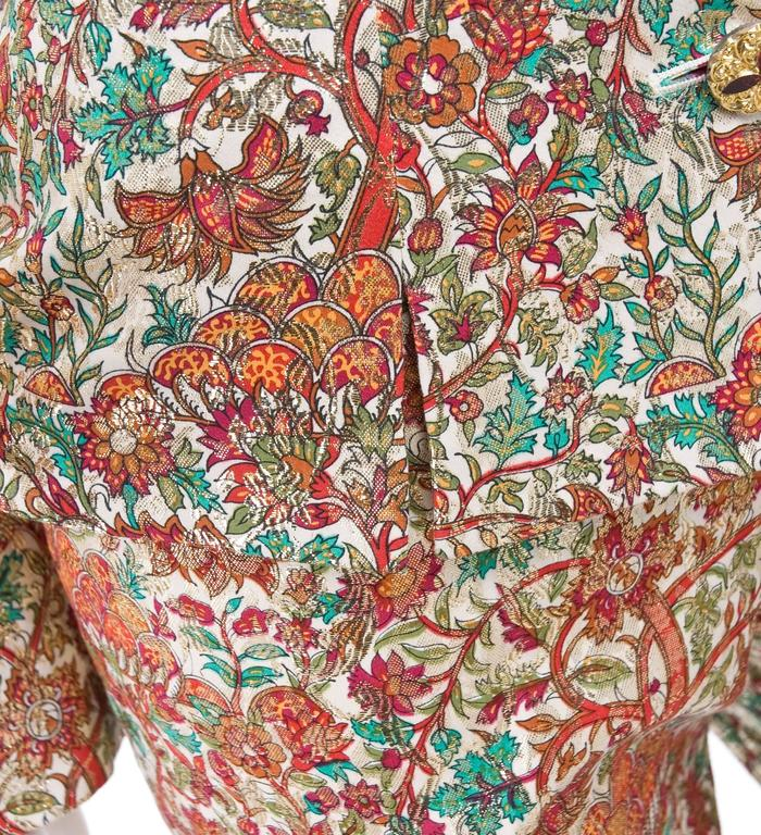 Vintage Yves Saint Laurent Brocade Suit in Gold, Red and Green 8