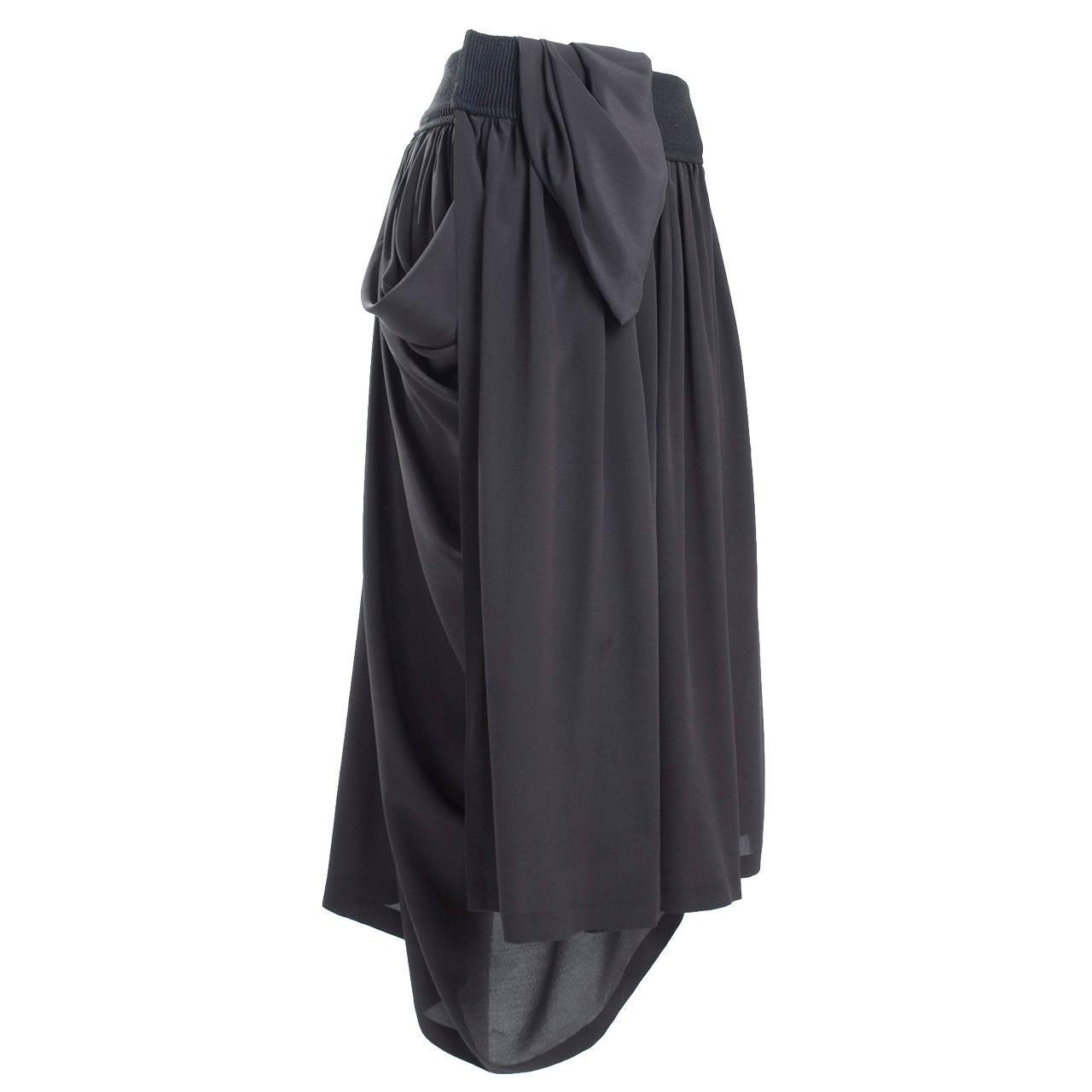 90's Yohji Yamamoto Black Silk Wrap Skirt 1