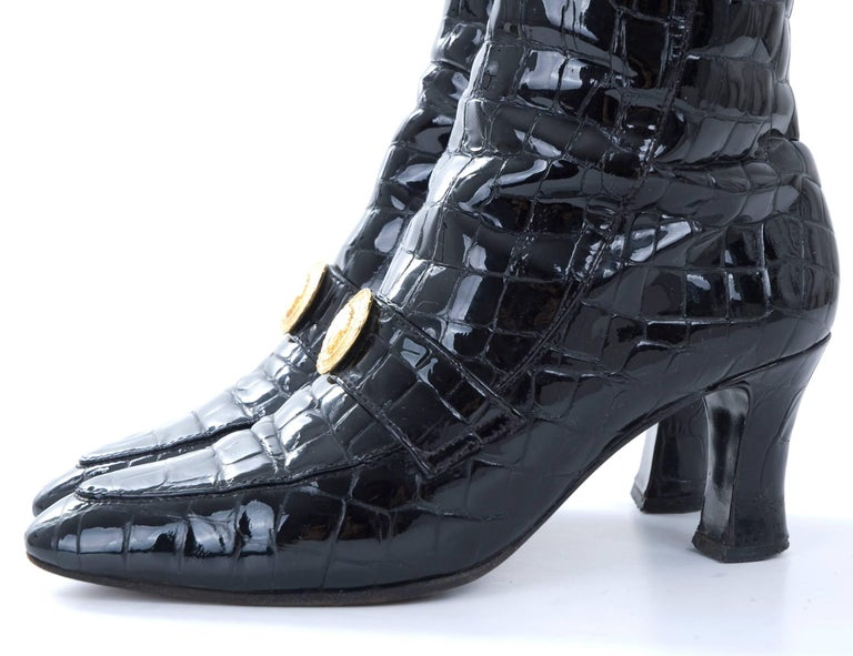 Vintage 80s Black Gianni Versace Crocodile Pattern Leather