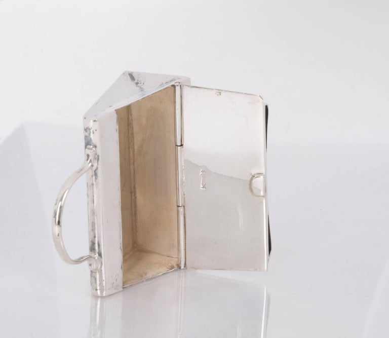 HERMES Paris Mini Kelly Pill Box in  925 Sterling Silver For Sale 1