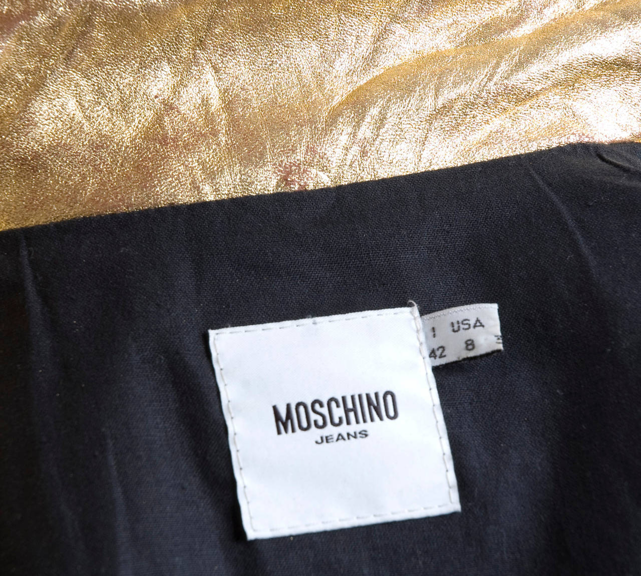 80's  Moschino Jeans Gold Leather Jacket 8