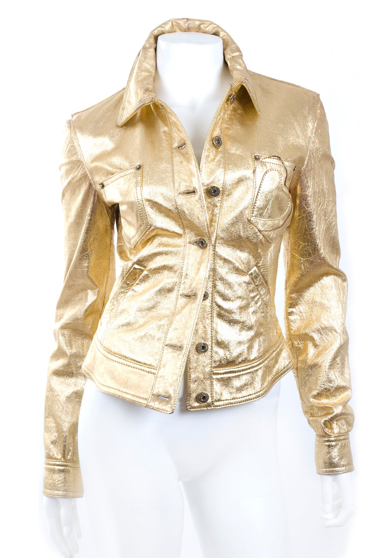80's  Moschino Jeans Gold Leather Jacket 3