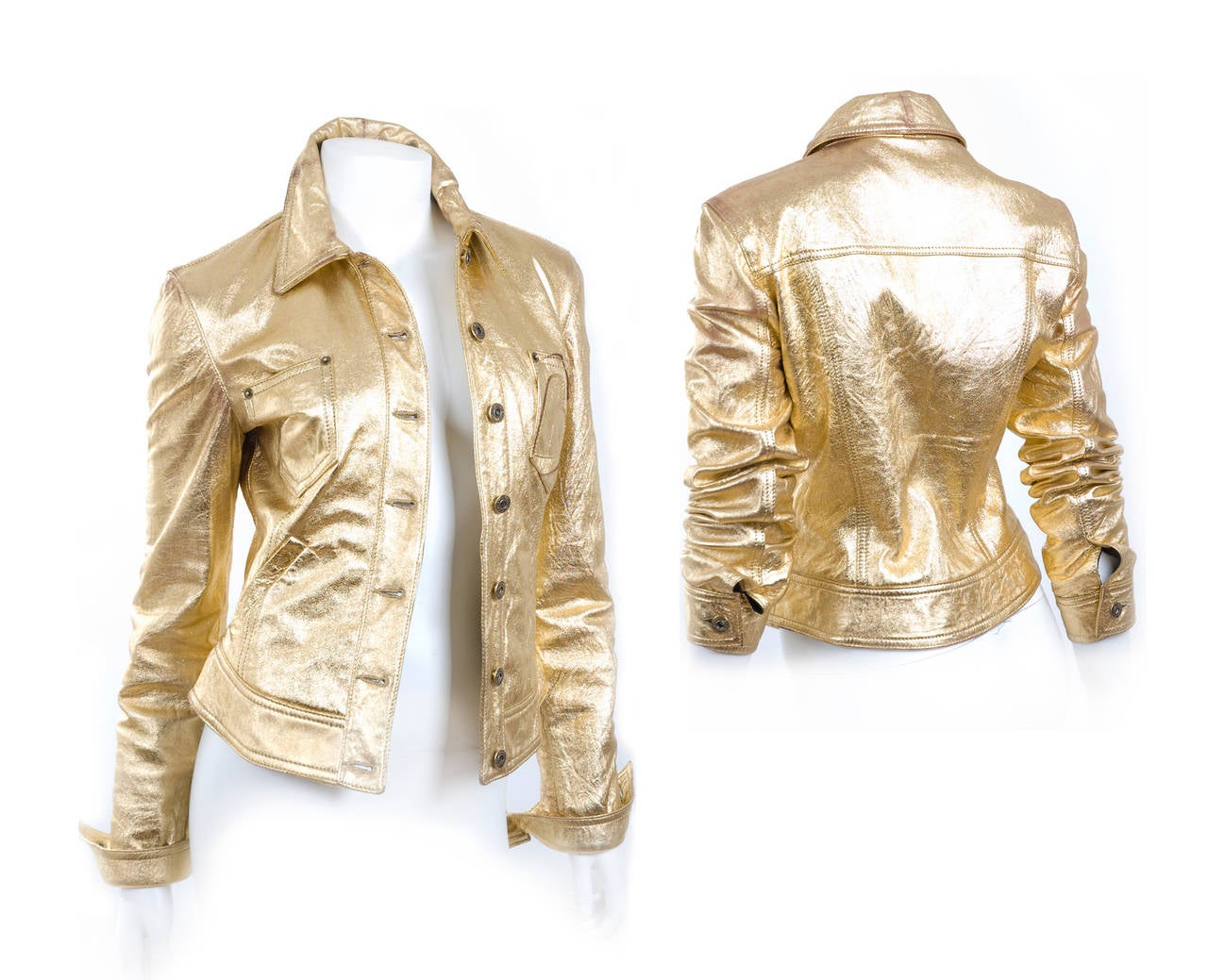 """80's  Moschino Jeans Gold Leather Jacket. Vintage surface with a red undertone. Please see pics. Excellent condition. Size IT 42 - US 8  Measurements: Length 20"""" inches - 51cm - Bust 34"""" inches - 89cm"""