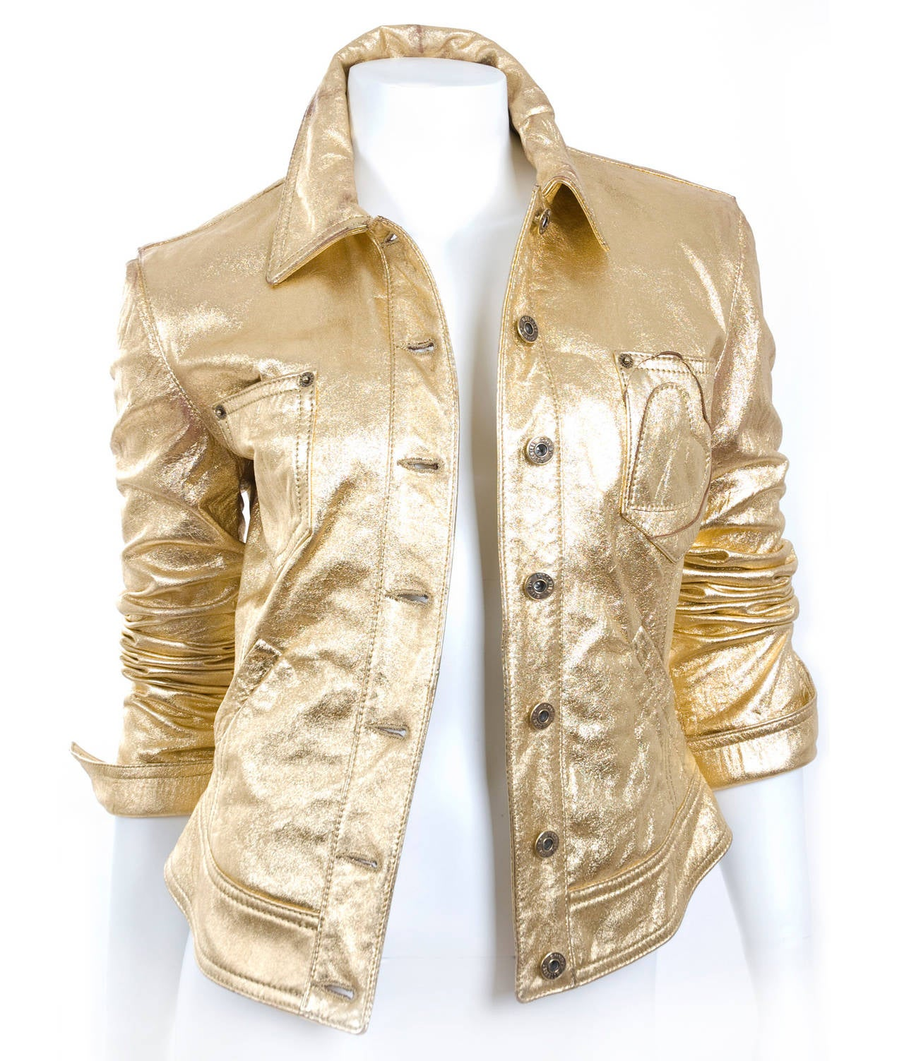 80's  Moschino Jeans Gold Leather Jacket 4