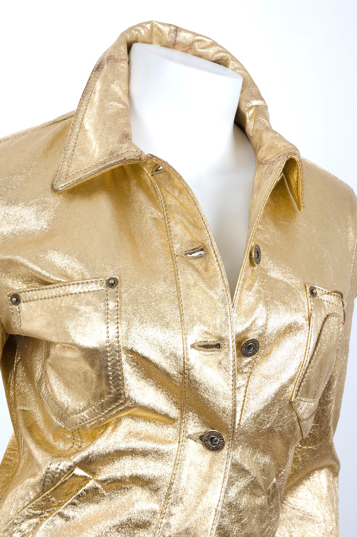 80's  Moschino Jeans Gold Leather Jacket For Sale 2