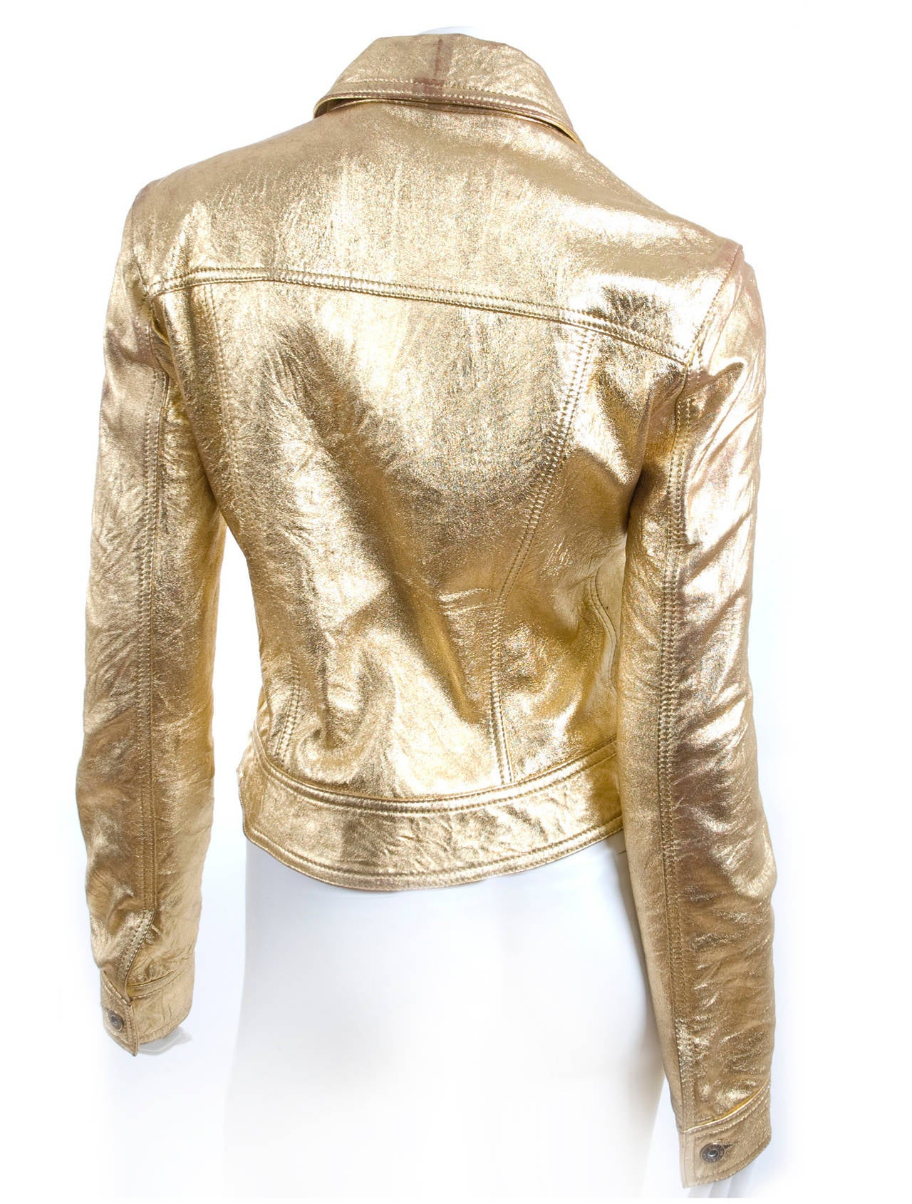 80's  Moschino Jeans Gold Leather Jacket 7