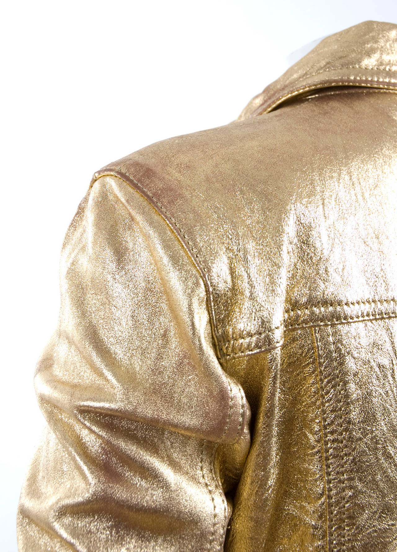 80's  Moschino Jeans Gold Leather Jacket 9