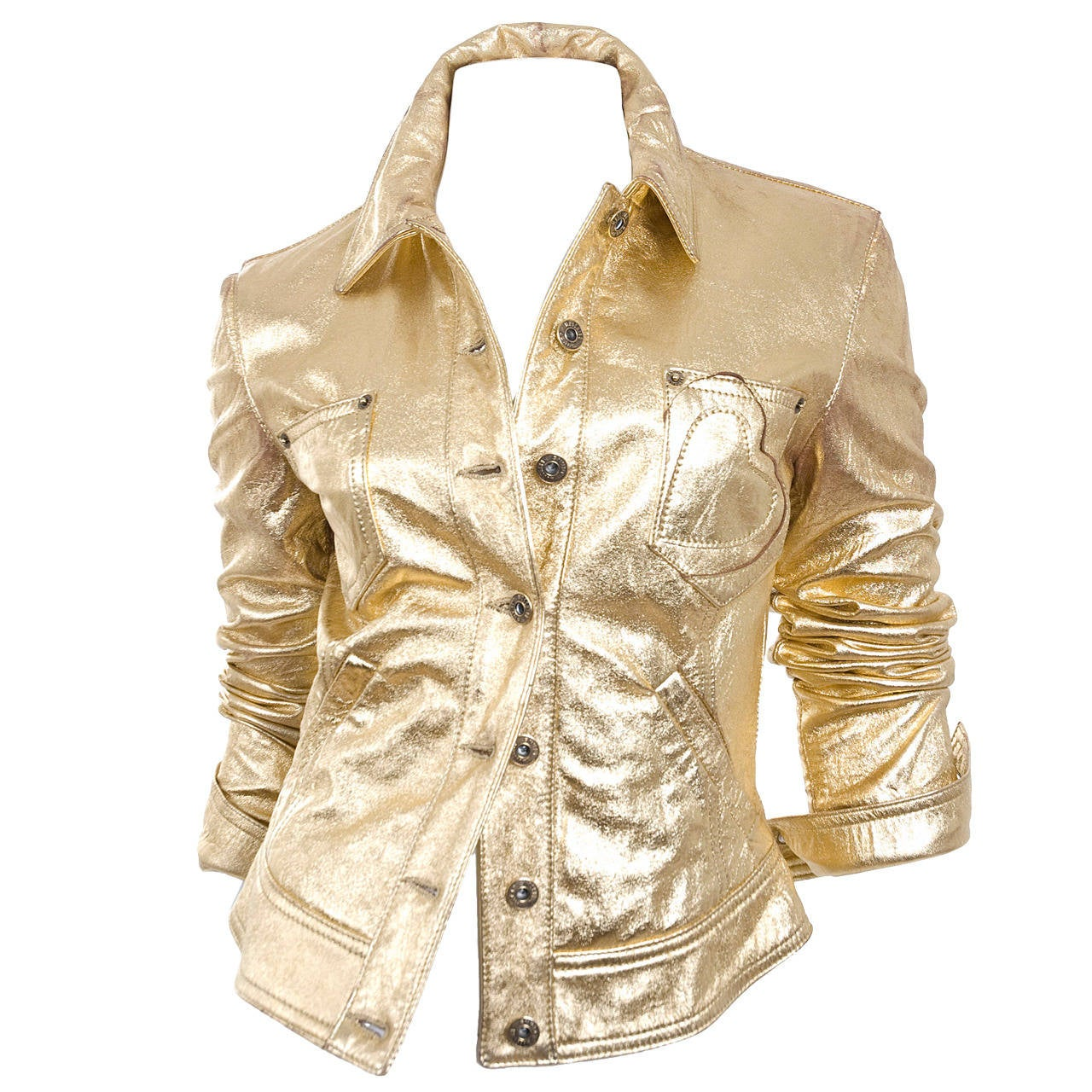 80's  Moschino Jeans Gold Leather Jacket 1