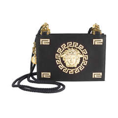 1992 Gianni Versace Couture Black Satin Evening Purse.